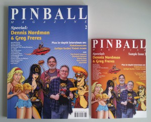 Left: Pinball Magazine No. 2, Right: the smaller sized 28-page sample Issue.