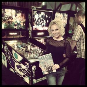 Melanie Morren promoting Pinball Magazine
