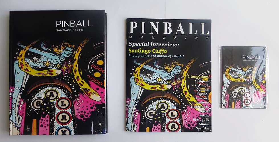 Hardcover book (left), special supplement magazine (center) and set of exclusive postcards (right)