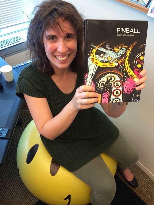 Moviemaker Anna Newman just received Santiago Ciuffo's Pinball book.
