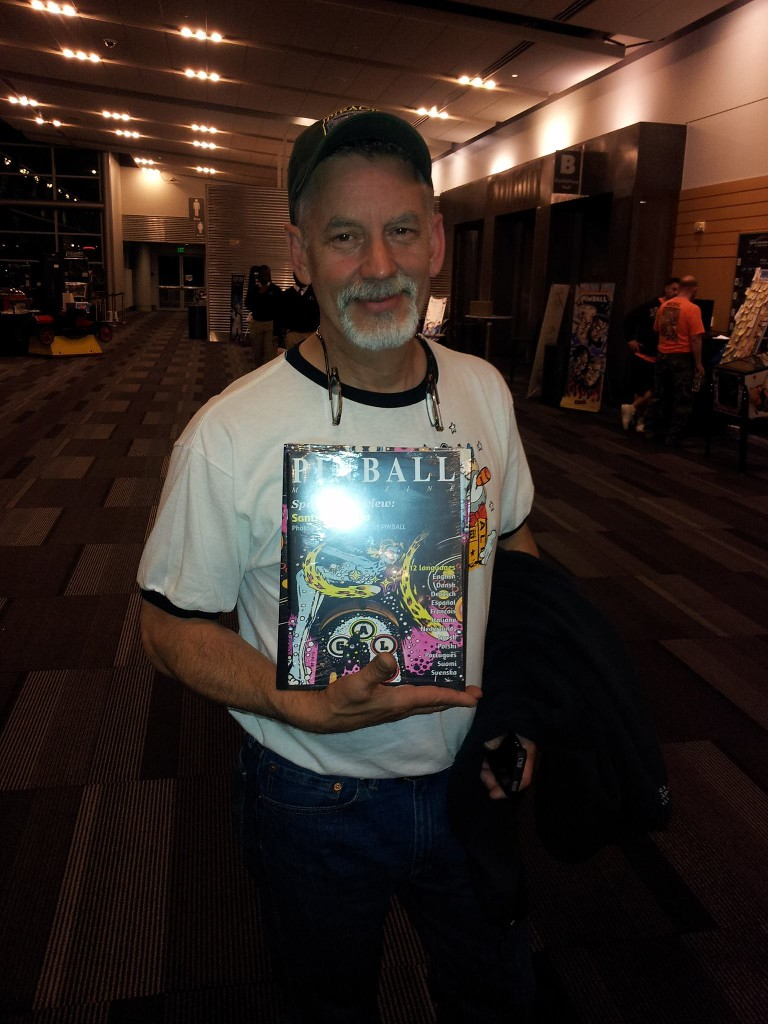 Pinball designer Mark Ritchie is happy with his copy of PINBALL by Santiago Ciuffo