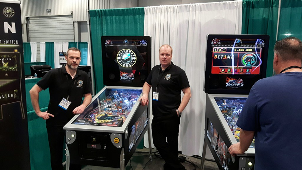 Heighway Pinball's investors Cato and Roger with Full Throttle