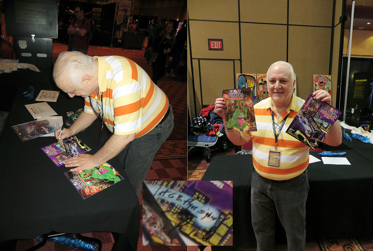 John Trudeau signs his first Ghost Busters flyer