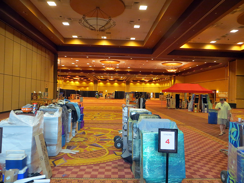 The empty show floor seen from the loading dock