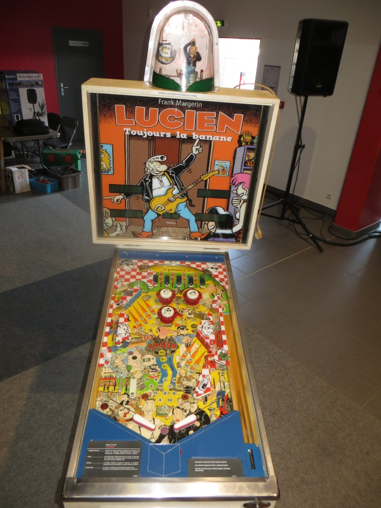 Lucien, a converted Rack'M Up pinball now themed after a popular French comic book character