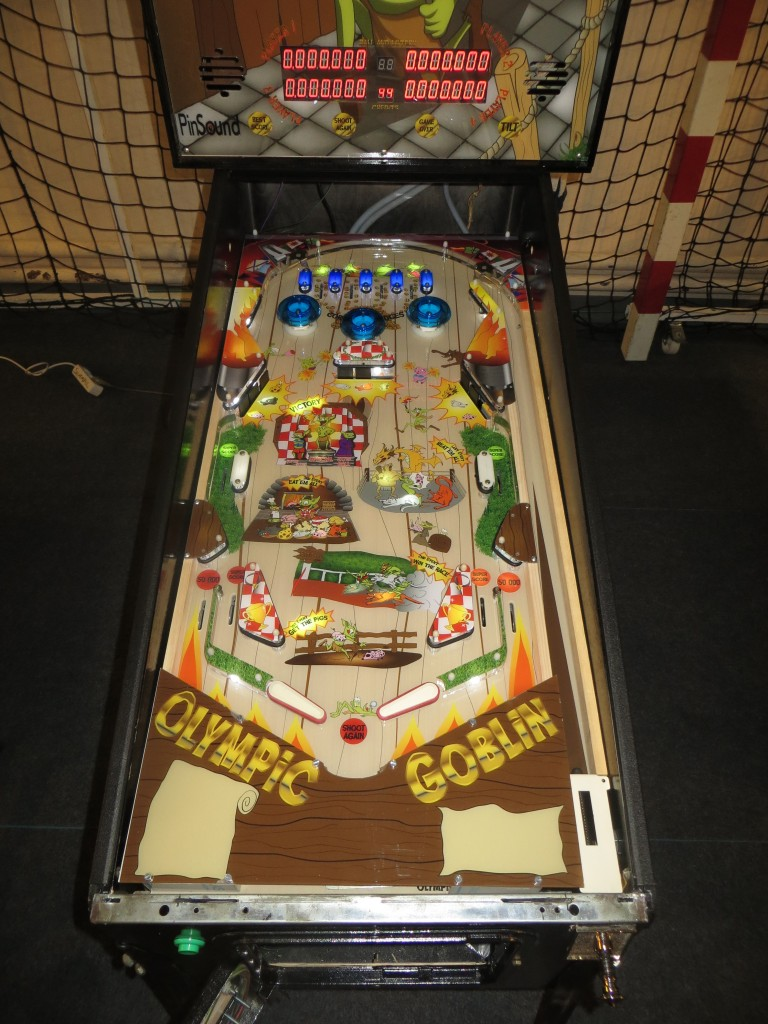 Prototype playfield of Phénix Pinball's Olympic Goblin
