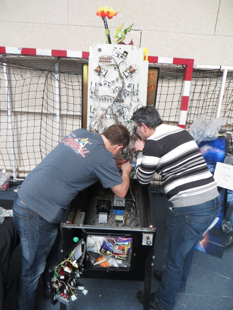 Pascal Janin and Christian Petit working on the prototype at Flip Expo